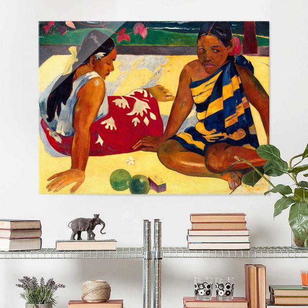 Glasbild - Kunstdruck Paul Gauguin - Zwei Frauen von Tahiti. Parau Api (Gibt's was Neues?) - Post-Impressionismus Quer 4:3
