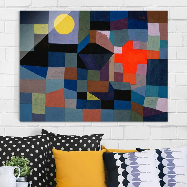 Glasbild - Kunstdruck Paul Klee - Feuer bei Vollmond - Expressionismus Quer 4:3