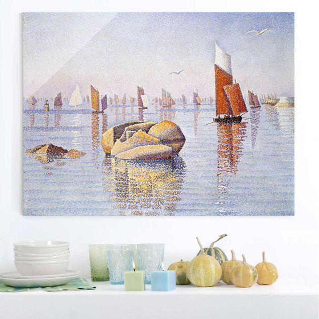 Glasbild - Kunstdruck Paul Signac - Concarneau. Ruhiger Morgen - Pointillismus - Quer 4:3