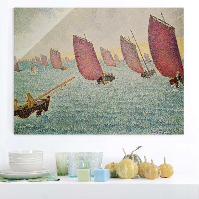 Glasbild - Kunstdruck Paul Signac - Regatta vor Concarneau - Pointillismus - Quer 4:3