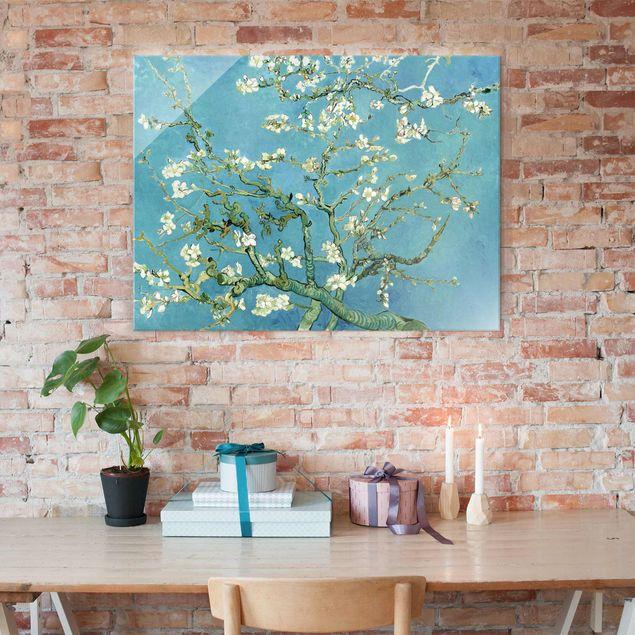 Glasbild - Kunstdruck Vincent van Gogh - Mandelblüte - Post-Impressionismus Quer 4:3