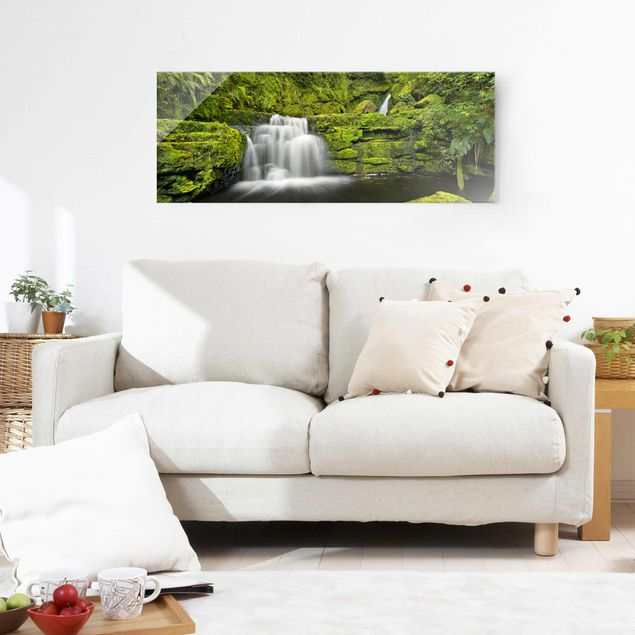 Glasbild - Lower McLean Falls in Neuseeland - Panorama