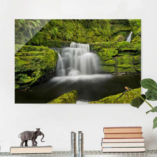 Glasbild - Lower McLean Falls in Neuseeland - Querformat 2:3