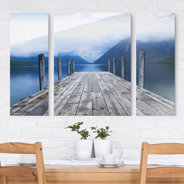 glasbild mehrteilig nelson lakes national park neuseeland 3 teilig wandbild glas ebay. Black Bedroom Furniture Sets. Home Design Ideas