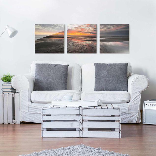 Glasbild mehrteilig - Sonnenaufgang im Watt - 3-teilig
