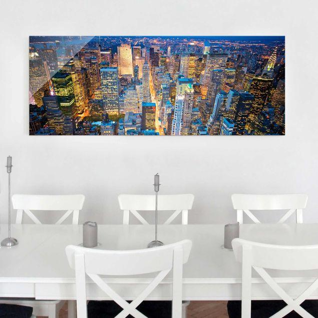 Glasbild - Midtown Manhattan - Panorama Quer