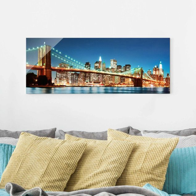 Glasbild - Nighttime Manhattan Bridge - Panorama Quer