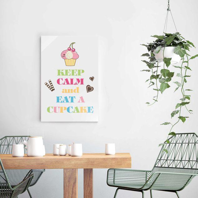Glasbild - No.EV71 Keep Calm And Eat A Cupcake Bunt - Hoch 2:3