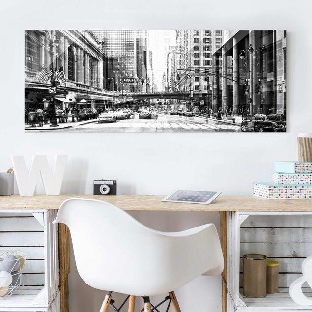 Glasbild - NYC Urban schwarz-weiss - Panorama Quer