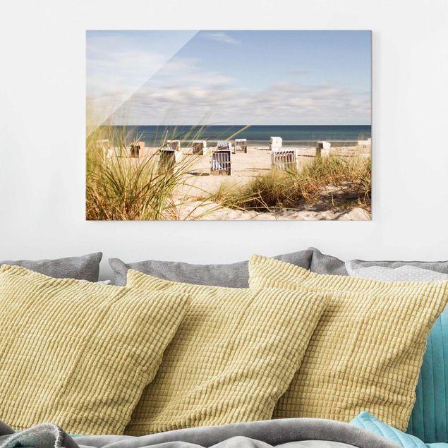Glasbild - Ostsee und Strandkörbe - Querformat 3:2
