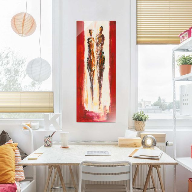 Glasbild - Paar in Rot - Panel