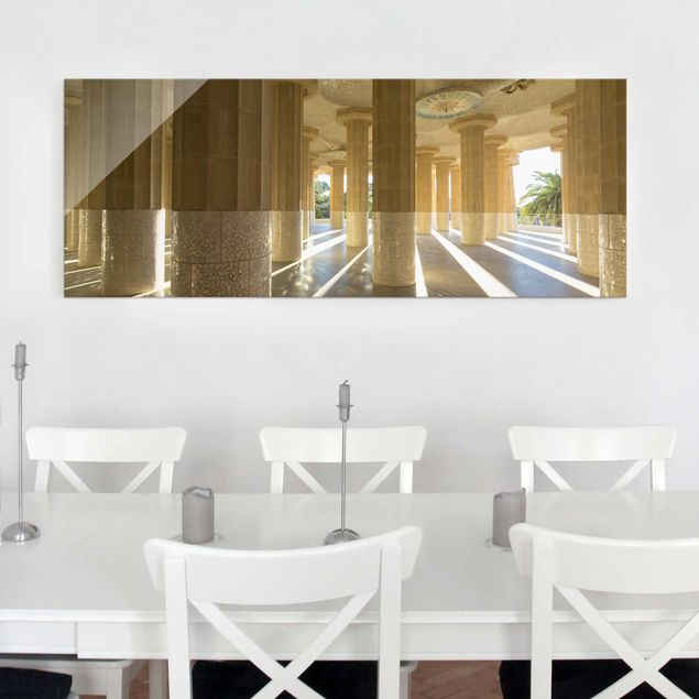 Glasbild - Säulen Lichtspiel Barcelona - Panorama Quer