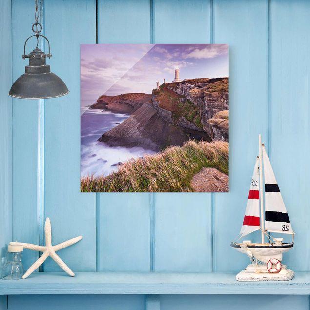 Glasbild - Steilküste und Leuchtturm - Quadrat 1:1