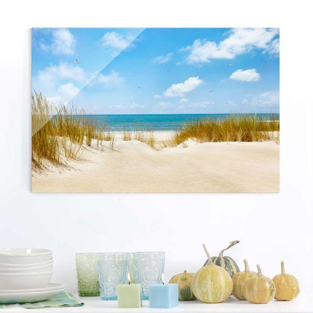 Glasbild Strand - Strand an der Nordsee - Strandbild Quer 3:2