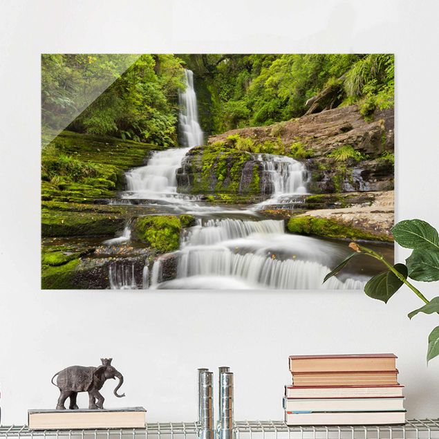 Glasbild - Upper McLean Falls in Neuseeland - Querformat 2:3