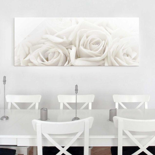 Glasbild - Wedding Roses - Panorama Quer - Blumenbild Glas
