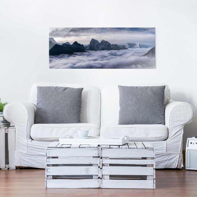 Glasbild - Wolkenmeer im Himalaya - Panorama