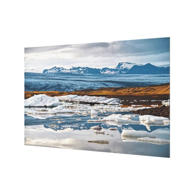 Spritzschutz Glas - Gletscherlagune - Querformat 3:2