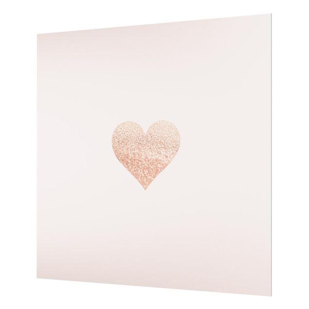 Spritzschutz Glas - Glitzerndes Herz - Quadrat 1:1