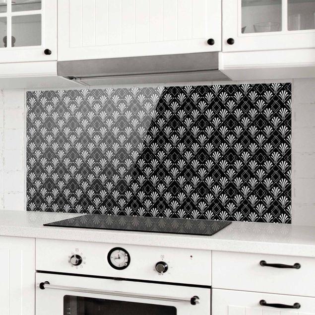 Spritzschutz Glas - Glitzeroptik mit Art Deco Muster auf Schwarz - Panorama 5:2