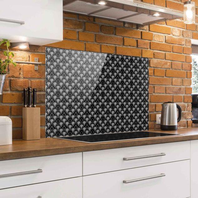 Spritzschutz Glas - Glitzeroptik mit Art Deco Muster auf Schwarz - Querformat 3:2
