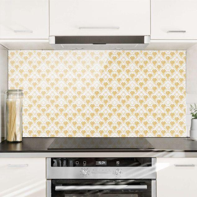 Spritzschutz Glas - Glitzeroptik mit Art Deco Muster in Gold - Querformat 2:1