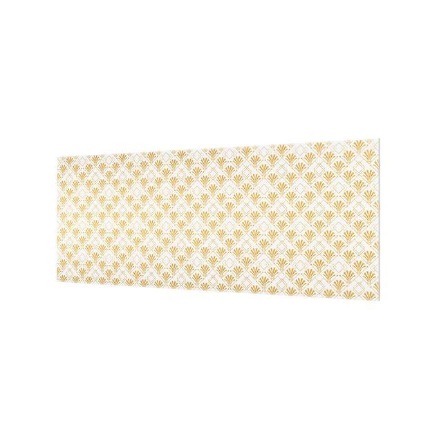 Spritzschutz Glas - Glitzeroptik mit Art Deco Muster in Gold - Panorama 5:2
