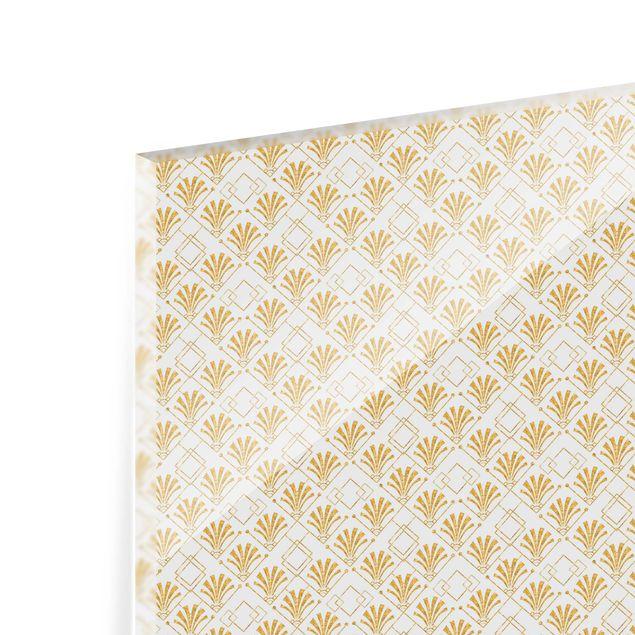 Spritzschutz Glas - Glitzeroptik mit Art Deco Muster in Gold - Querformat 3:2