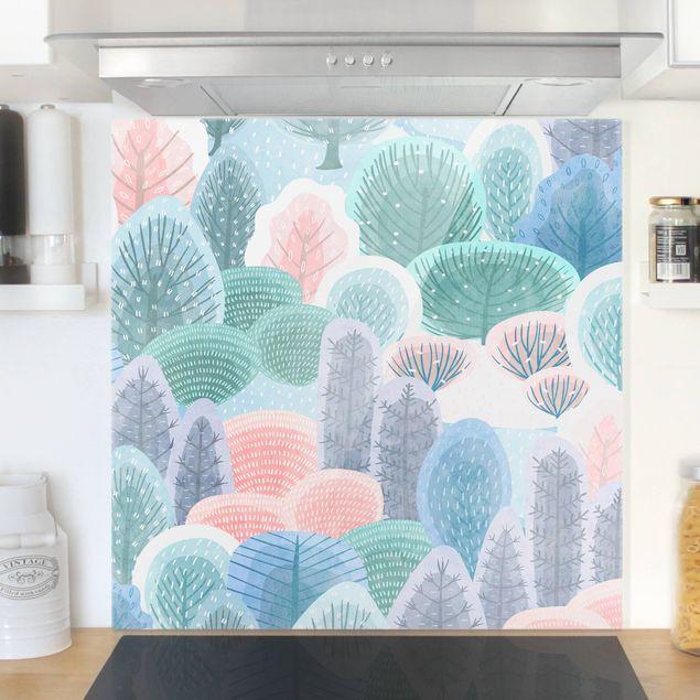 Spritzschutz Glas - Glücklicher Wald in Pastell - Quadrat 1:1