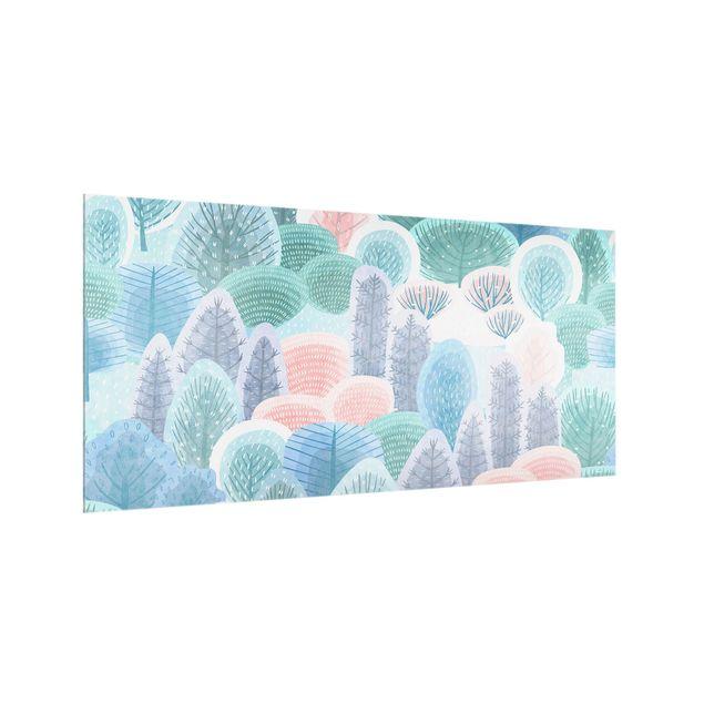 Spritzschutz Glas - Glücklicher Wald in Pastell - Querformat 2:1