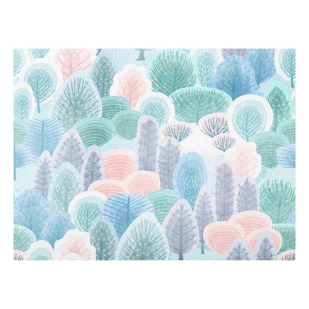 Spritzschutz Glas - Glücklicher Wald in Pastell - Querformat 4:3