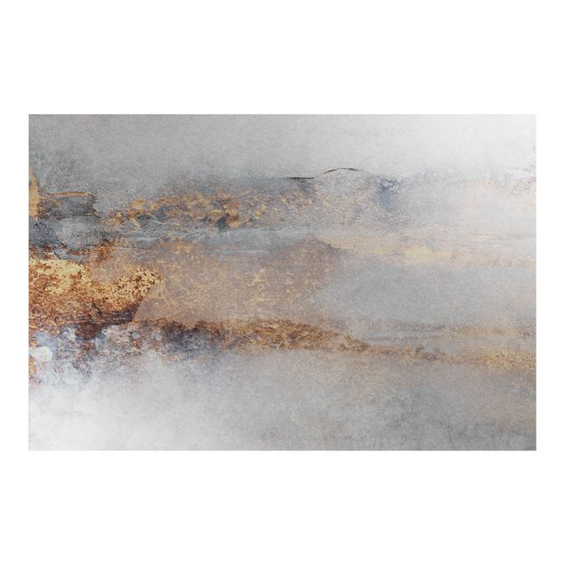 Metallic Tapete - Gold-Grauer Nebel
