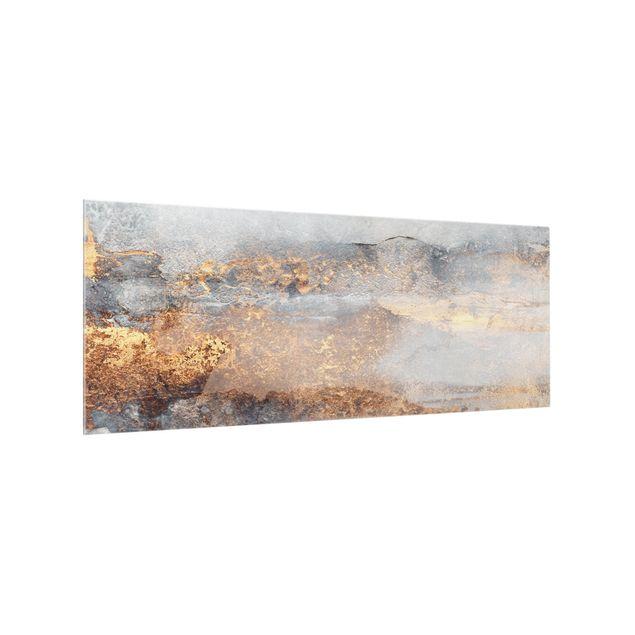 Spritzschutz Glas - Gold-Grauer Nebel - Panorama 5:2