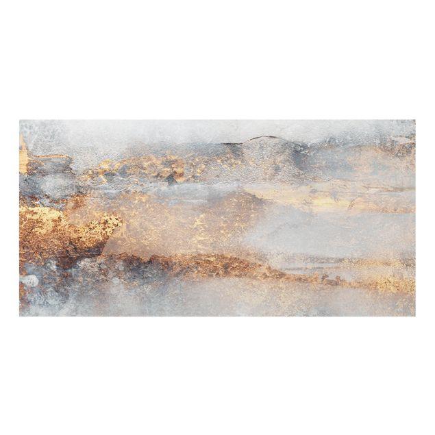 Spritzschutz Glas - Gold-Grauer Nebel - Querformat 2:1