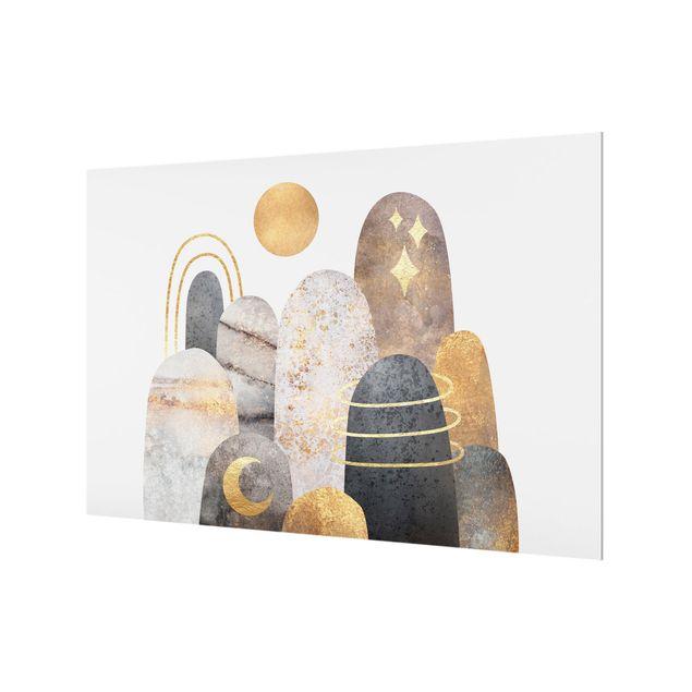 Spritzschutz Glas - Gold Berge mit Mond - Querformat 3:2