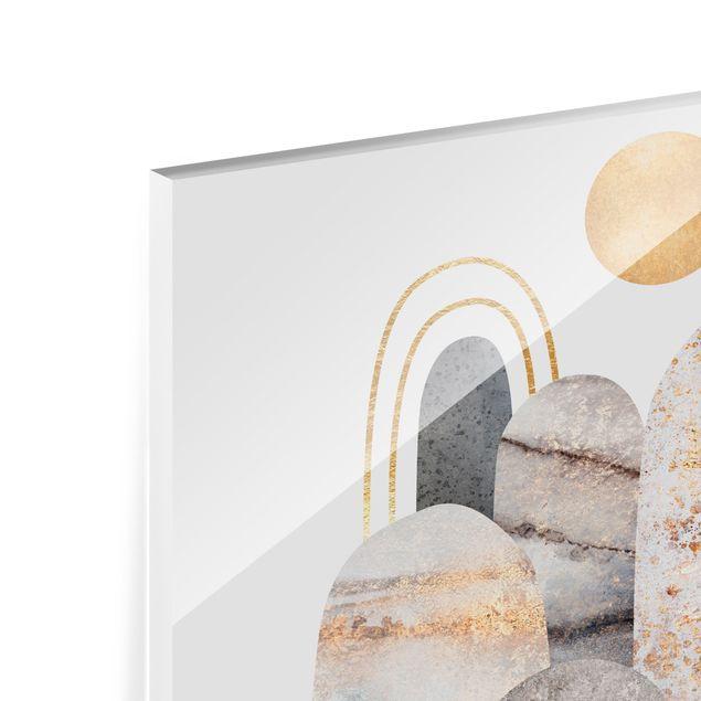 Spritzschutz Glas - Gold Berge mit Mond - Querformat 4:3