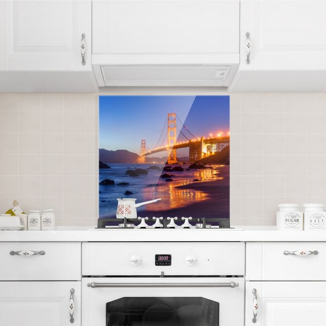 Spritzschutz Glas - Golden Gate Bridge am Abend - Quadrat 1:1