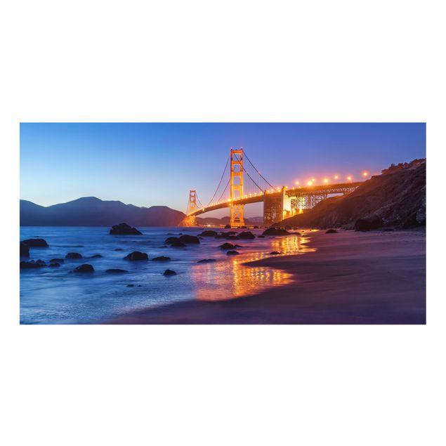 Spritzschutz Glas - Golden Gate Bridge am Abend - Querformat 2:1