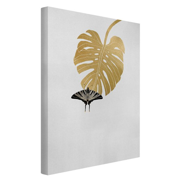Leinwandbild - Goldene Monstera mit Schmetterling - Hochformat 2:3