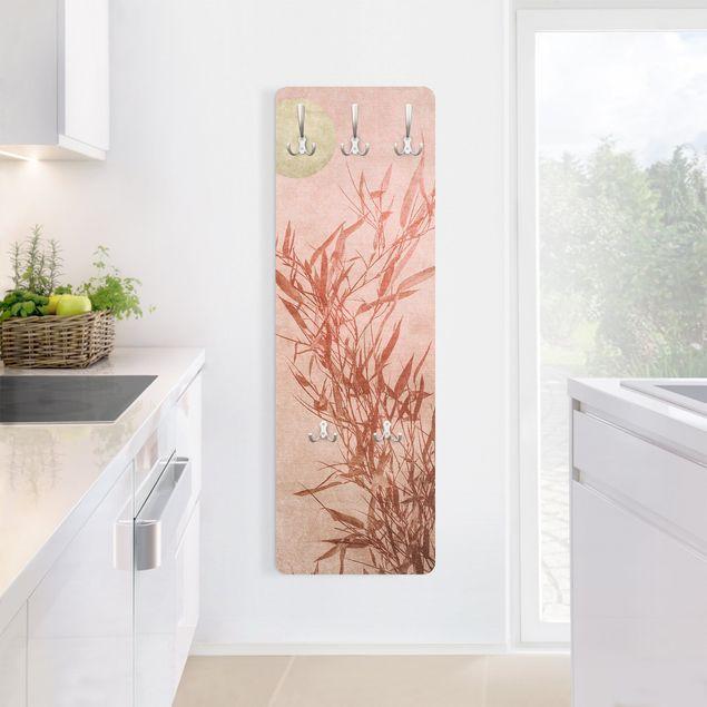 Garderobe - Goldene Sonne mit Rosa Bambus