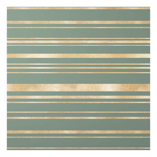 Spritzschutz Glas - Goldene Streifen vor Grün - Quadrat 1:1