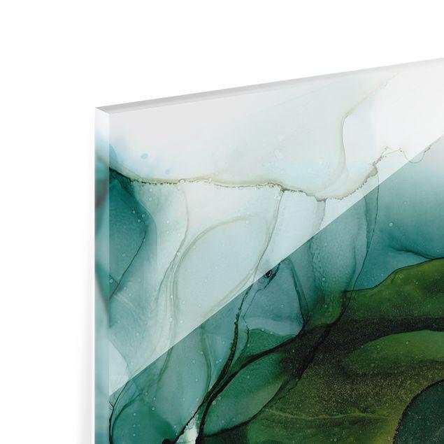 Spritzschutz Glas - Goldener Waldspaziergang - Querformat 2:1