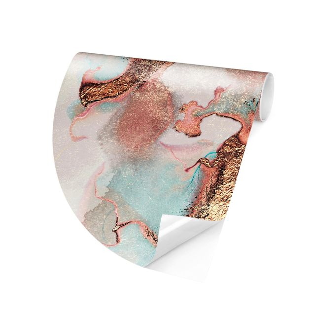 Runde Tapete selbstklebend - Goldenes Aquarell Rosé