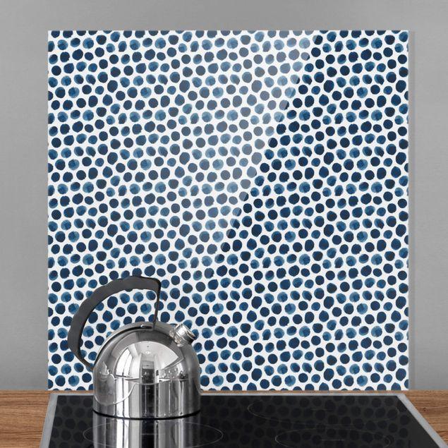 Spritzschutz Glas - Große Aquarell Polkadots in Indigo - Quadrat 1:1