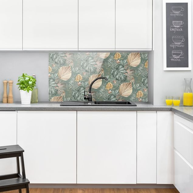 Spritzschutz Glas - Große Blätter mit Rosen vor Grün - Querformat 2:1