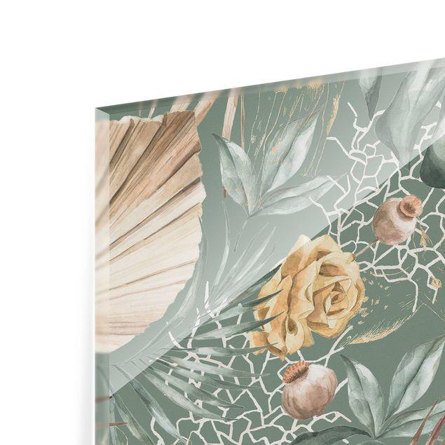 Spritzschutz Glas - Große Blätter mit Rosen vor Grün - Quadrat 1:1
