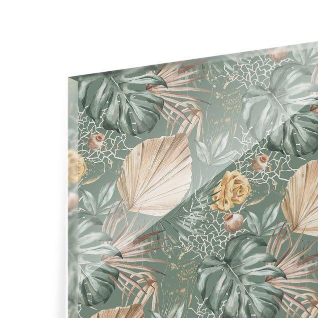 Spritzschutz Glas - Große Blätter mit Rosen vor Grün - Querformat 3:2
