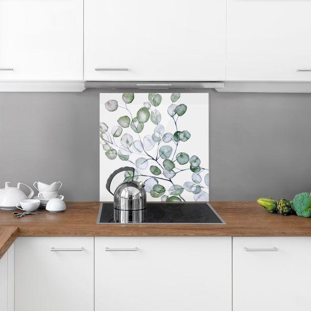 Spritzschutz Glas - Grünes Aquarell Eukalyptuszweig - Quadrat 1:1