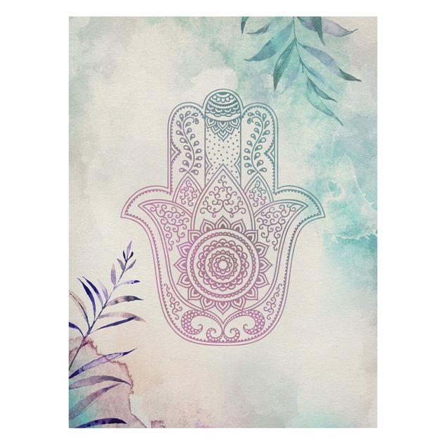 Leinwandbild - Hand der Fatima Aquarell - Hochformat 3:4