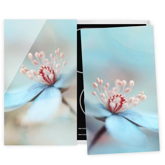 Herdabdeckplatte Glas - Blüten in Hellblau